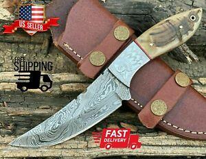 """Handmade Damascus Steel Hunting Engraved Eagle Skinner Knife """"Ram Horn Handle"""""""