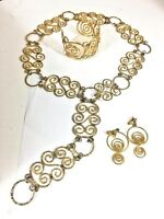 "Egyptian Revival 1960s Jewelry 3 p Set 36"" Belt Necklace Earrings Bracelet Boho"