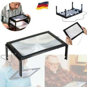 Lesehilfe Tischlupe Lupe mit 12 LED A4 Standlupe Licht faltbar Leselupe Senioren
