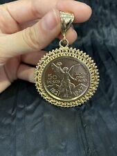 YELLOW GOLD PLATED Mesh Design Mexican Coin CENTENARIO Pendant ORO LAMINADO