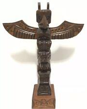 Jimmy John Signed Hand Carved Cedar Totem Nuu-chah-Nulth Thunderbird Beaver Pole