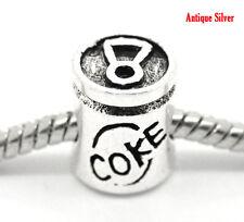 "Silver tone ""COKE"" Can Charm beads Fit European charm Bracelet"