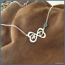 Unendlich-Symbolkette, Herzen & 2 Buchstaben mit Glücksauge, Nazar, 925er Silber