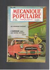 MECANIQUE POPULAIRE N°97 1954  petites voitures americaines nouveaux bateaux