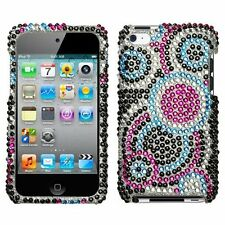 for iPod Touch 4th Gen -Pink Blue Silver Bubble Crystal Diamond Bling Case Cover