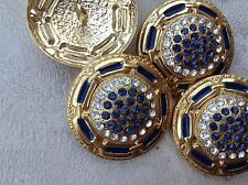 MAXI bottone gioiello ORO BLU' STRASS SWAROVSKY moda vintage BOUTON COUTURE