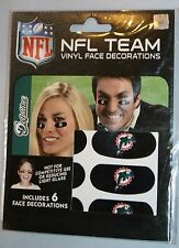 New Unopened NFL Miami Dolphins Vinyl Face Decorations Party Animal 6 pcs