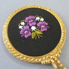 Vintage Petite GILT Oromolu PURSE Mirror Hand Embroidered VIOLETS + LOV on Black
