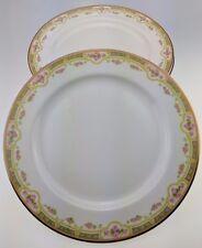 "Lot of 6 Bawo & Dotter Elite Works Limoges Pink Roses 9 5/8"" dinner plate BWD379"