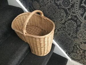 Wicker Stair Basket good condition 35c high, 45cm with handle 28c wide 38cm long