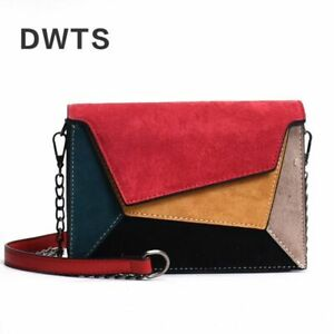 Women Female Messenger Bag Chain Strap Shoulder Bags Quality Leather Patchwork