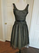 NWT BCBG Maxazria Women's Black/Gold Metallic Beaded Formal Dress Size 4 $478
