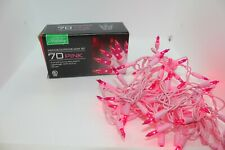 VALENTINES HOLIDAY INDOOR OUTDOOR LIGHT SET OF 2 PINK LIGHTS ON PINK WIRE