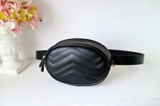 Black Round Unisex Waist Belt Bag Fanny Pack PU Leather Cute Korean Style
