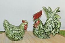 Vintage Ceramic Rooster & hen Chickens Green Lot of 2