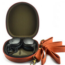 Classic Red Leather Carrying Case for On-ear Headphones Headsets w' Shoulder Bag