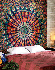Indian Peacock Mandala Tapestry Wall Hanging Hippie Bohemian Queen Throw Decor