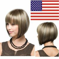 Lady Bob Wig Women's Short Straight Full Wigs Cosplay Party Hair Wig with Bangs