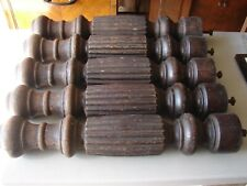 5 Antique Heavy Oak Table Legs w/ Fluted & Turned Pattern for Early 1900's Table