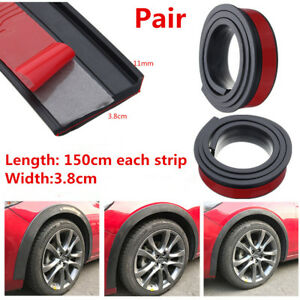 2Pcs 150cm Car Fender Flare Extension Wheel Eyebrow Moulding Trim Protector Lip