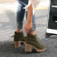 Womens Block High Heels Round Toe Platform Ankle Boots High Top Lace Up Shoes Sz