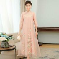 vintage womens flower Embroidery casual Cheongsam A-line slim fit long dress new