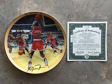 """Michael Jordan """"The Shot"""" Collector Plate Bradford Ex/Upper Deck COA"""