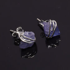 925 Sterling Silver Stud Earrings, Raw Tanzanite Handcrafted Jewelry RSSE360
