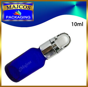 10ml empty Cobalt Blue Glass Bottles with BF Silver  White Top Glass Pipette