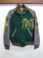 vtg Malden HS Varsity Jacket 60's Letter Man Patch green wool gray sleeve L