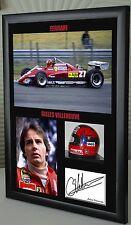 "Gilles Villeneuve  F1 Ferrari Framed Canvas Signed Print ""Great Gift"""
