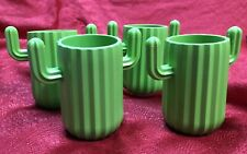 Green Cactus Hard Plastic Cups Drink Ware - Set of 4