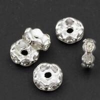 50 Glas Strasssteine Rondell 8mm Spacer Altsilber Metallperlen Schmuck R36