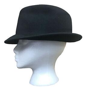 Men's Black Wool Trilby Hat Cap with Narrow Brim Made in USA Medium (7 - 7 1/8)