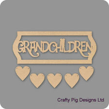 Grandchildren Framed Plaque With 5 Hanging Hearts - 3mm MDF Wooden Craft Plaque
