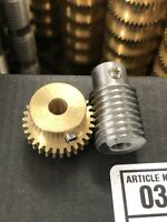"MATCHING BRONZE WORM GEAR SET 30:1 RATIO 32 PITCH 1/4"" BORE FROM BOSTON MA. LOOK"