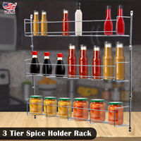 Hot 3 Tier Kitchen Spice Rack Cabinet Organizer Wall Mount Storage Shelf Holder