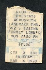 Original 1978 Aerosmith concert ticket stub Loews Syracuse NY Draw The Line Tour
