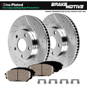 FRONT Drill And Slot BRAKE ROTORS & CERAMIC Pads For ES300 Avalon Camry Sienna