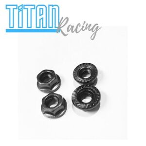 RC Wheel Nuts Flanged Lock Nut 1/10 4mm Crawler Black Zink Steel 4pce