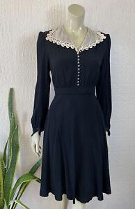 Vintage Dress 1930's 1940's Crepe Handmade Black Size 12
