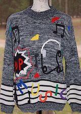 Retro 80s 90s Knit POP Music Sweater Headphones Musical Notes Band Teacher Music