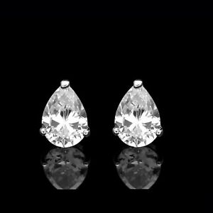 Exquisite Silver PEAR CUT DG Created Diamond Stud earrings GIFT BOX INCLUDED