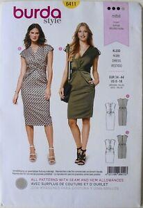 Burda Style 6411 Misses Dresses Kleid Vestido Sewing Pattern Sz 8-18