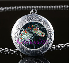 Sugar Skull Horse Cabochon Glass Tibet Silver Locket Pendant Necklace