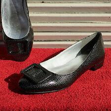 ECHTLEDER Damen LACK Ballerinas HEINE Schuhe Slipper Pumps Schwarz Silber Gr. 42