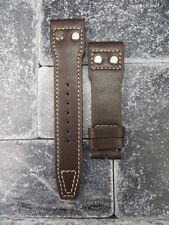 New 22mm IWC Brown CALF Leather Strap watch Band Rivet BIG PILOT Beige Regular