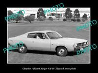 OLD POSTCARD SIZE PHOTO OF 1972 CHRYSLER VALIANT CHARGER VH LAUNCH PRESS PHOTO1