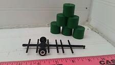 1/64 black Standi Toys 6 round bale mover cart w/ 6 hay bales Ertl Farm Toy