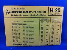 Dunlop Preisliste Fahrrad Moped Kleinkraftrad Roller Reifen H20 H31 1969 Handel